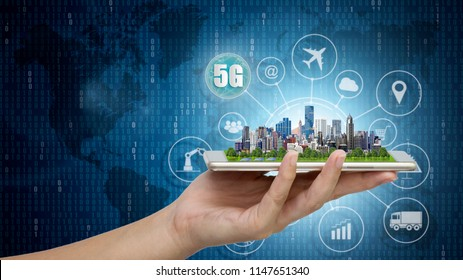 5G network wireless systems and internet of things, Smart city and communication network with Modern city model on smartphone in hand and objects icon connecting together, Connect global wireless.
