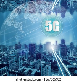 5G network wireless systems and internet of things, Smart city and communication network and connecting together, Connect global wireless devices.