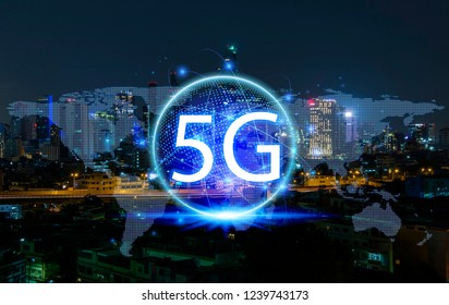 5G network wireless systems and internet of things on city night background.concept of future technology.