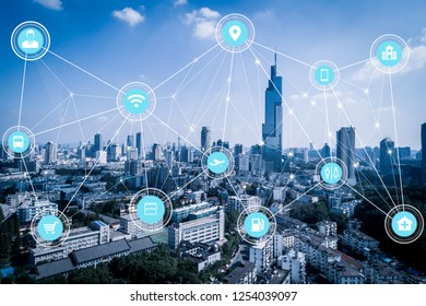 5G network wireless systems and internet of things with modern city skyline