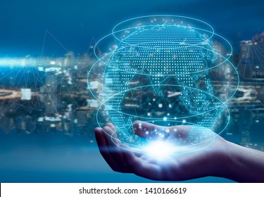 5G network wireless systems and internet of things, Smart city and communication network with Global on hand and objects icon connecting together, Connect global wireless devices.
