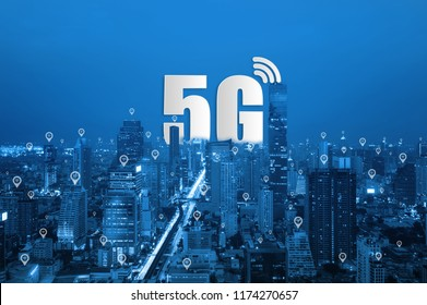 5G network wireless systems and Smart city communication network on smartphone, connect global wireless devices.