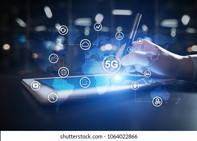 5G networks and telecommunication concept on virtual screen with world map and icons.