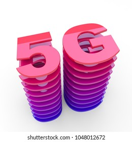 5G sign - wireless cellular network speed red glossy symbol 3D render