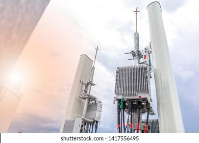 5G smart mobile telephone radio network antenna base station. Transmitter connection system at cellular phone antennas.