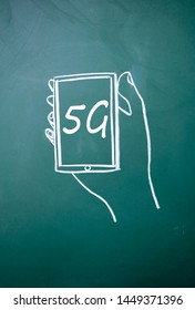 5G smartphone sign on blackboard