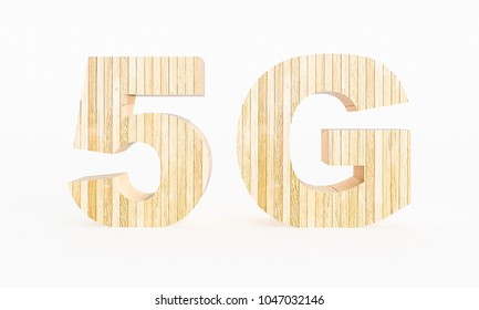 5G symbol made with wood on a white background. 3d Rendering.