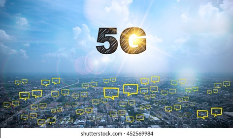 5G  text on city and sky background with bubble chat ,business analysis and strategy as concept