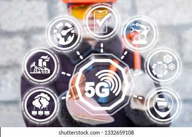 5g wireless network internet industry 4.0 communication system. Fifth innovative generation of the global high speed web broadband net on a manufacturing plant.
