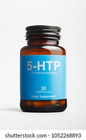 5-HTP bottle with L-5-Hydroxytryptophan, precursor of serotonin.