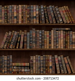 5of15 Old books seamless texture (vertically and horizontally). Tiled Bookshelf Background.