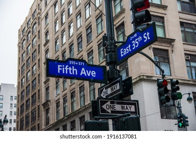 5th Ave and 35th Signs in New York City