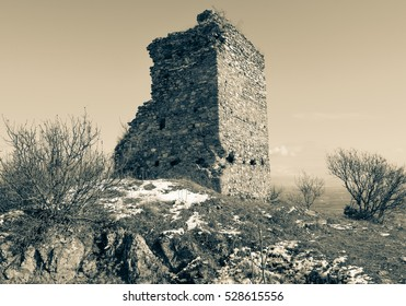 5th century fortress ruins (Czar's towers) in eastern Macedonia near Strumica town
