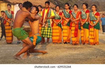 """5th February 2017, Guwahati, Assam. Traditional sports """"wrestling"""" of Bodo Tribes of Assam during Rongali Festival in Guwahati, India."""