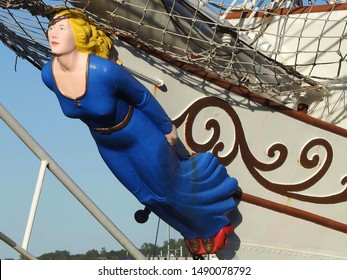 5th of July 2019 - Scene from the Tall Ships' Races with close up of a figurehead in a blue dress, Aalborg, Denmark