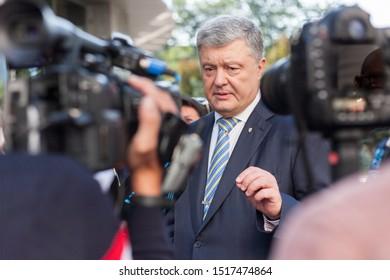 5th President of Ukraine Petro Poroshenko talks to media after commemorative event in the Ministry of Defense of Ukraine ,  Kiev / Kyiv, Ukraine, August 24, 2019.