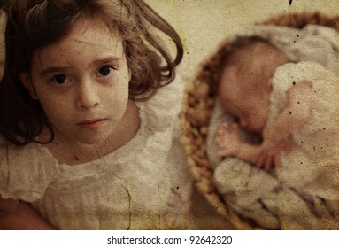 5-year-old girl with her newborn sister.  Photo in old image style.