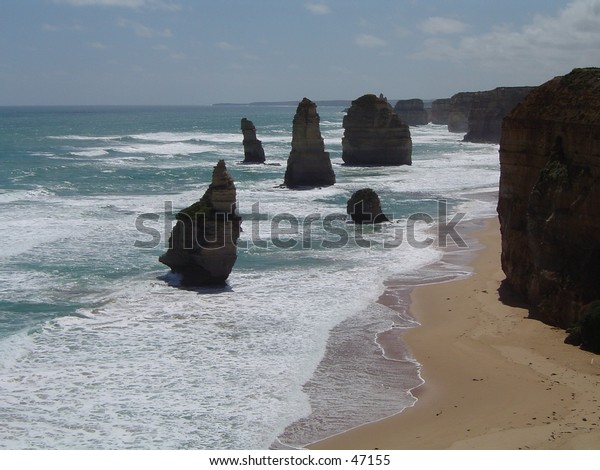 6 of the 12 Apostles that can be seen. It is a really beautiful place to sit and watch the sunset and the sunlight fading on the 6 apostles.