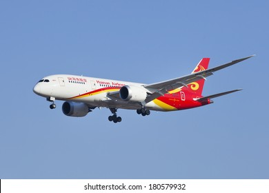 BEIJING-??MARCH 6, 2014. B-2723 Boeing 787-8 Dreamliner from Hainan Airlines landing. long-range, mid-size wide-body, twin-engine jet airliner, Boeing states it's their most fuel-efficient airliner