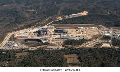 6 April 2018, Provence, France. Aerial view of nuclear reactor site ITER, the International Fusion Energy Organization and atomic and energy research institute Cadarache.