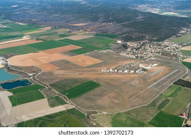 6 April 2018, Vinon-sur-Verdon, France. Aerial view of airport Aerodrome Vinon. A small airfield in the French Provence with a concrete runway for light aircraft, also gliders, sailplanes and mla.