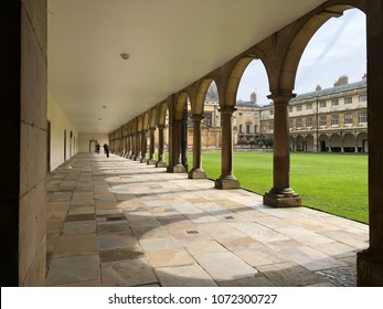 6 April 2018 Wren Library Trinity College Cambridge university Cambridge England. Tourists come to visit and sightseeing around the college