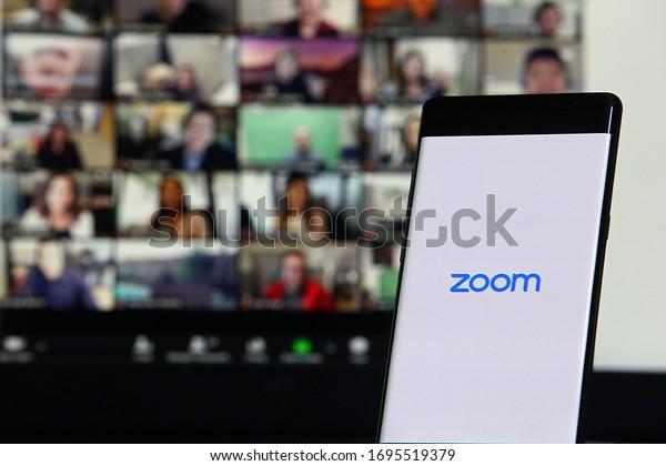 6 April 2020. Istanbul / Turkey. Smartphone showing Zoom Cloud Meetings app,