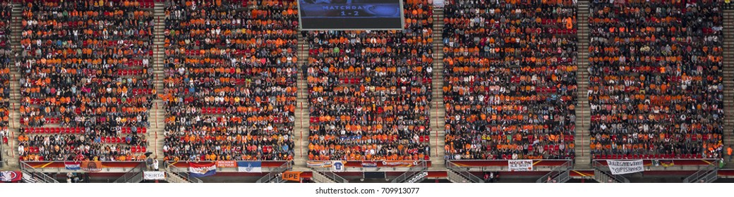 6 August 2017, Enschede, Holland. Aerial view of soccer stadium Grolsch Veste during the UEFA Woman's Euro Final. The audience is orange coloured.