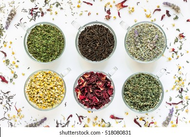 6 cups with different types of tea leaves black, green, hibiscus, chamomile, mint, lavender on white background of scattered tea leafs. Tea collection of six different types of tea leafs. Horizontal.