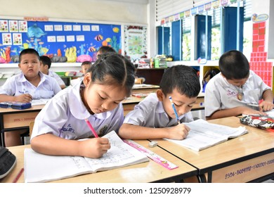 6 December 2018 Early elementary school children, both male and female are intending to study mathematics in the classroom at Wadsarod School in Bangkok Thailand.