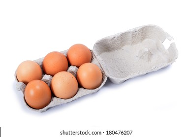 6 eggs in a box on white background