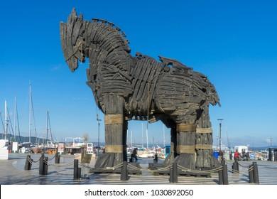 6 Feb 2018 Trojan Horse in Canakkale Square,Turkey