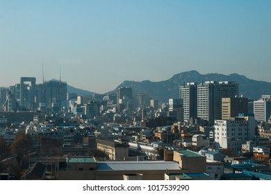 6 January 2018: The cityscape with clear blue sky and the mountain in Seoul, South Korea