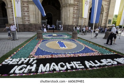 6 Juine 2017 Live flowers carpet in front of Speyer's Cathedral during Celebration of Christ Body Regeneration by catholics of Speyer, Germany