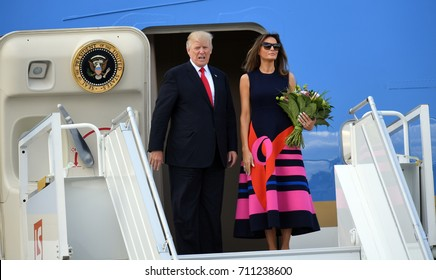 6 JULY, 2016 - WARSAW, POLAND. President Trump's departure from Warsaw Chopin Airport