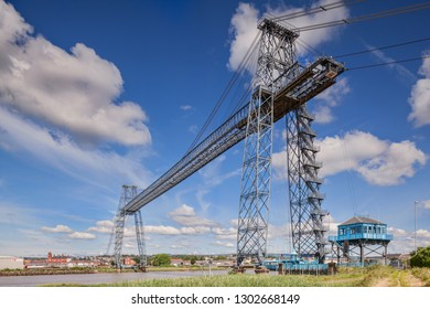 6 July 2017: Newport, Gwent, South Wales, UK - Transporter Bridge, still functional today.