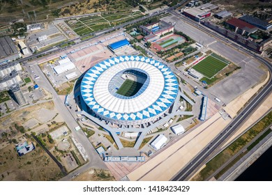 "6 June 2019, Volgograd, Russia. Aerial high-altitude view of the football stadium ""Volgograd Arena"" built for the FIFA World Cup 2018"