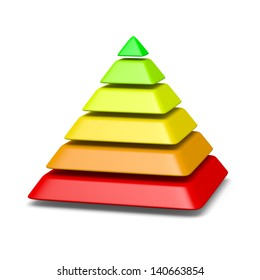 6 levels pyramid structure red to green environment concept 3d illustration