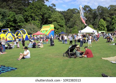 6 May 2018. Sydney, Hundreds of people in park in Australian city of Coffs Harbour's Botanic Garden. People of all ages at Japanese Children's Day Festival