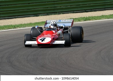 6 May 2018: Unknown run with historic 1971 Ferrari F1 Car model 312B2 ex Mario Andretti / Jacky Ickx during Minardi Historic Day 2018 in Imola Circuit in Italy.