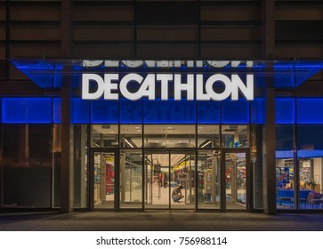 6  November, 2017, Editorial photo of Decathlon in the night, Bratislava, Slovakia