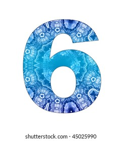 6 number with abstract design
