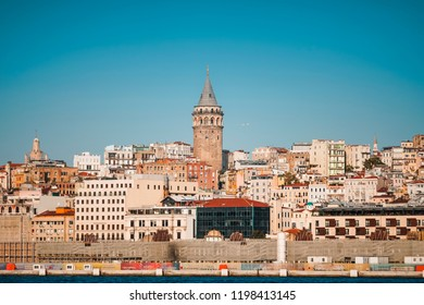 6 October 2018, Istanbul-Turkey: Galata Tower from a distance, Galata Tower at Galata District of Beyoglu.