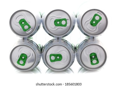 6 Pack Drinks cans on a white background