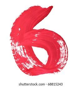 6 - Red handwritten digits over white background