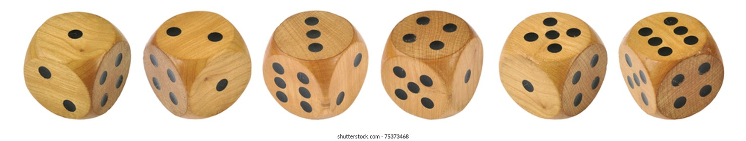6 Retro wooden dice, all 6 numbers in a row