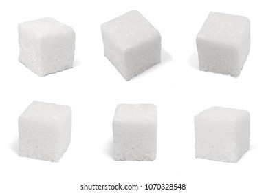 6 square cubes of sugar blocks isolated on white