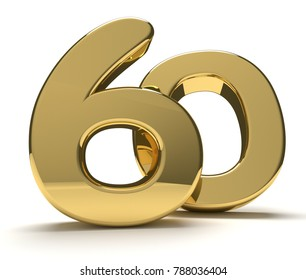 60 golden isolated 3d rendering