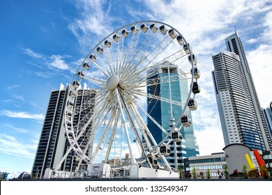 The 60 meter ferris wheel on top of the Transit Centre in Surfers Paradise, Gold Coast, Queensland Australia.