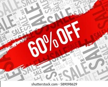 60% OFF Sale words cloud, business concept background